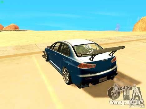 Mitsubishi Lancer Evolution X Time Attack pour GTA San Andreas laissé vue