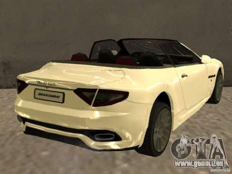 Maserati GranCabrio 2011 pour GTA San Andreas sur la vue arrière gauche