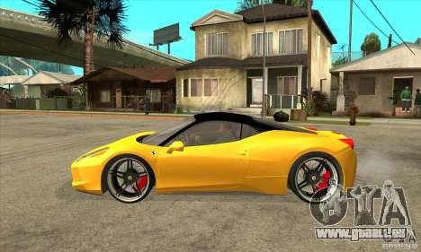 Ferrari 458 Italia custom pour GTA San Andreas laissé vue