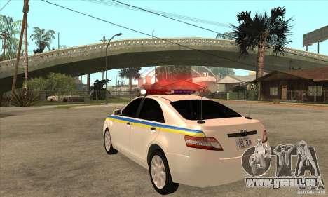 Toyota Camry 2010 SE Police UKR pour GTA San Andreas sur la vue arrière gauche