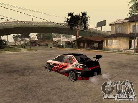 Mitsubishi Lancer Evolution 8 GReddy pour GTA San Andreas laissé vue