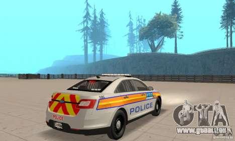 Ford Taurus 2011 Metropolitan Police Car pour GTA San Andreas laissé vue