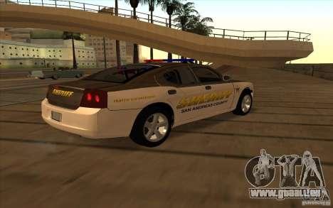 County Sheriffs Dept Dodge Charger für GTA San Andreas zurück linke Ansicht