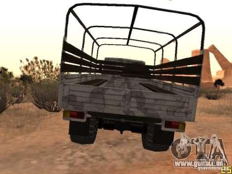 Oural-43206 hiver Camo pour GTA San Andreas sur la vue arrière gauche