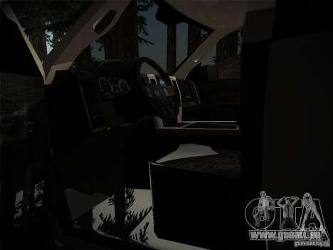 Dodge Ram 3500 4X4 pour GTA San Andreas vue intérieure