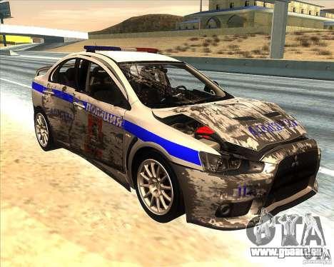 Mitsubishi Lancer Evolution X PPP Polizei für GTA San Andreas Unteransicht