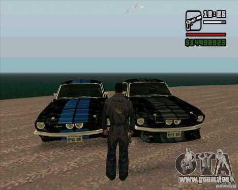 Shelby Mustang GT500 1967 für GTA San Andreas zurück linke Ansicht