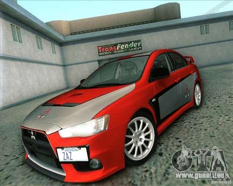 Mitsubishi Lancer Evolution X 2008 pour GTA San Andreas vue intérieure