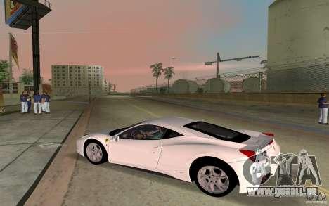 Ferrari 458 Italia pour GTA Vice City sur la vue arrière gauche