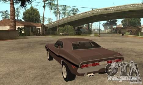 Dodge Challenger R/T Hemi 426 pour GTA San Andreas sur la vue arrière gauche