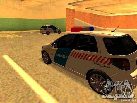 Suzuki SX-4 Hungary Police für GTA San Andreas zurück linke Ansicht