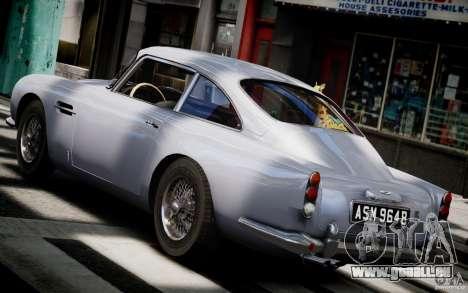 Aston Martin DB5 1964 pour GTA 4 Vue arrière de la gauche