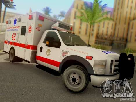 Ford F350 Super Duty Chicago Fire Department EMS für GTA San Andreas Rückansicht