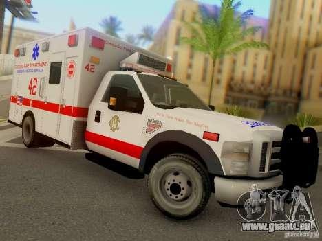 Ford F350 Super Duty Chicago Fire Department EMS pour GTA San Andreas vue arrière