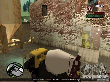 KAMAZ 53112 bétonnière pour GTA San Andreas vue intérieure