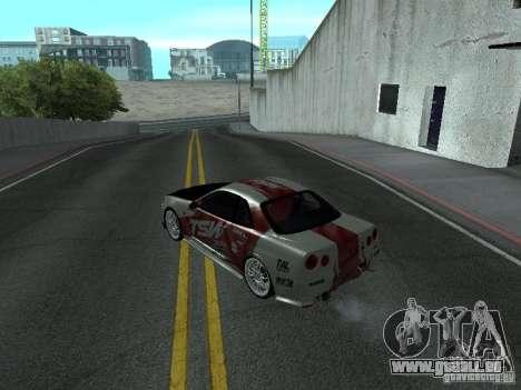 Nissan Skyline R 34 pour GTA San Andreas sur la vue arrière gauche