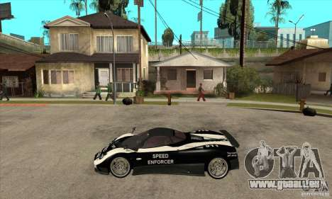 Pagani Zonda F Speed Enforcer BETA pour GTA San Andreas sur la vue arrière gauche