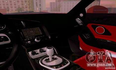 Audi R8 V10 Spyder 5.2. FSI pour GTA San Andreas vue de dessus