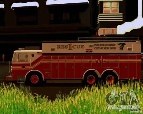 Pumper Firetruck Pierce F.D.N.Y pour GTA San Andreas vue de droite