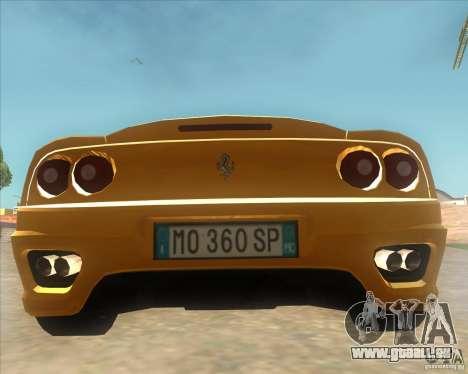 Ferrari 360 Spider für GTA San Andreas zurück linke Ansicht