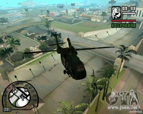 Blackhawk UH60 Heli pour GTA San Andreas vue de droite