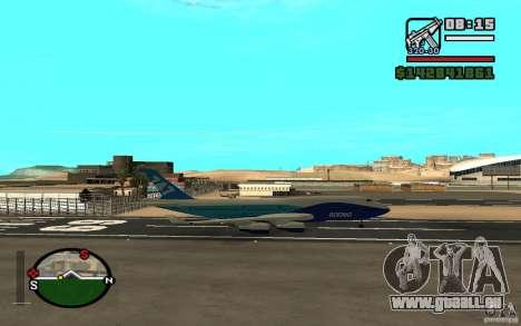 Boeing 747 serie 8 für GTA San Andreas Rückansicht