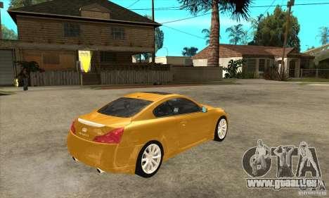 Infiniti G37 Coupe Sport für GTA San Andreas Innenansicht