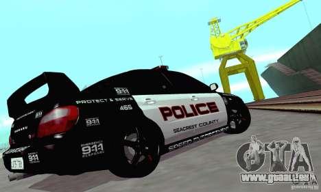 Subaru Impreza WRX STI Police Speed Enforcement für GTA San Andreas Innenansicht