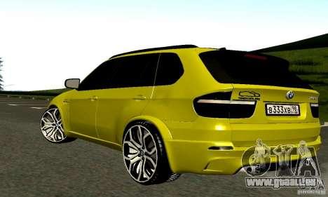 BMW X5M or pour GTA San Andreas vue de droite