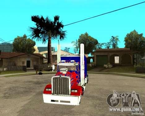 Truck Optimus Prime pour GTA San Andreas vue arrière