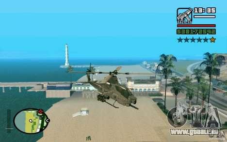 Bell AH-1Z Viper pour GTA San Andreas sur la vue arrière gauche