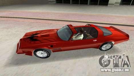 Pontiac Trans Am 77 pour une vue GTA Vice City de l'intérieur