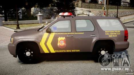 Chevrolet Tahoe Indonesia Police pour GTA 4 est une gauche