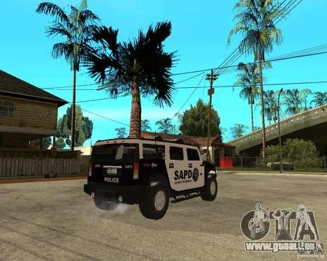 AMG H2 HUMMER SUV SAPD Police pour GTA San Andreas vue de droite