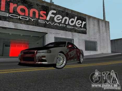 Nissan Skyline R 34 pour GTA San Andreas laissé vue