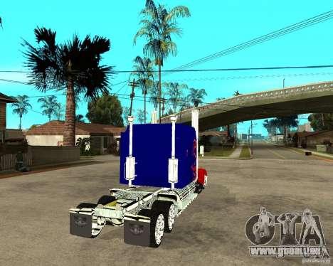 Truck Optimus Prime pour GTA San Andreas sur la vue arrière gauche