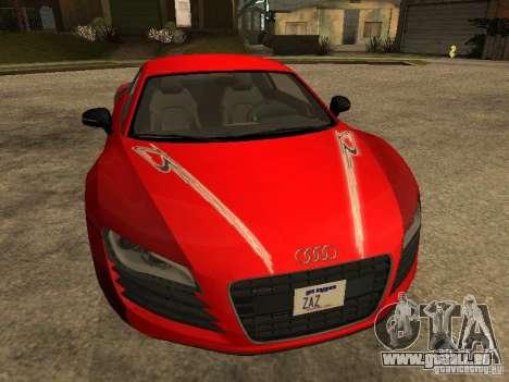Audi R8 pour GTA San Andreas vue de dessous