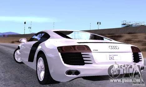 Audi R8 4.2 FSI pour GTA San Andreas sur la vue arrière gauche