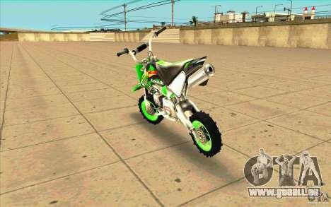 Kawasaki PitBike pour GTA San Andreas sur la vue arrière gauche