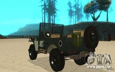 Willys MB pour GTA San Andreas sur la vue arrière gauche