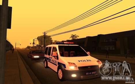Ford Transit Connect Turkish Police pour GTA San Andreas laissé vue