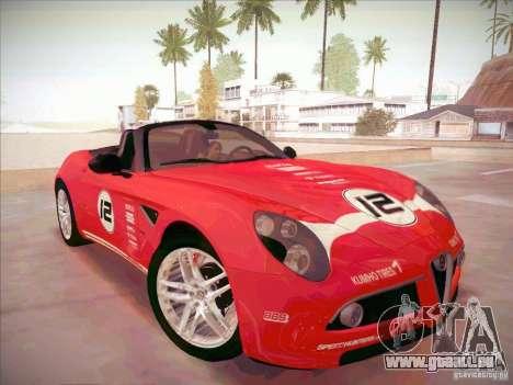 Alfa Romeo 8C Spider für GTA San Andreas Rückansicht