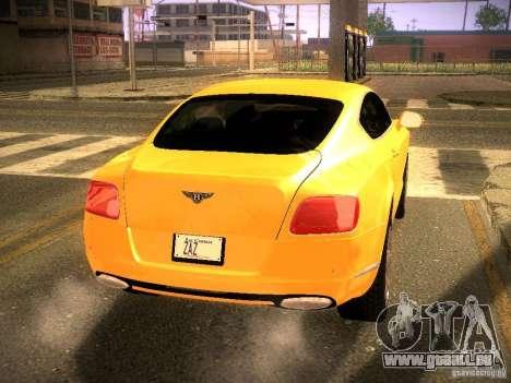 Bentley Continental GT 2011 pour GTA San Andreas sur la vue arrière gauche