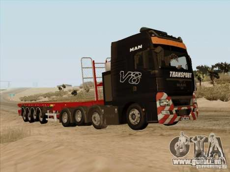 MAN TGX 8 x 4 trailer für GTA San Andreas rechten Ansicht