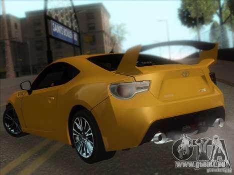 Toyota GT86 2012 für GTA San Andreas Rückansicht