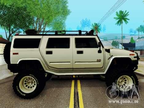 Hummer H2 Monster 4x4 pour GTA San Andreas sur la vue arrière gauche