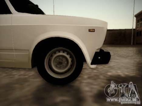 VAZ 2107 v2 pour GTA San Andreas sur la vue arrière gauche
