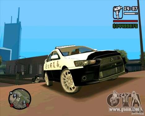 Mitsubishi Lancer EVO X Japan Police pour GTA San Andreas laissé vue