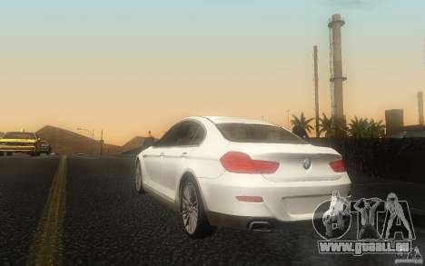 BMW 6 Series Gran Coupe 2013 pour GTA San Andreas sur la vue arrière gauche