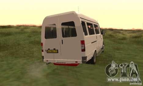 Gazelle 32213 Nowosibirsk Minibus für GTA San Andreas zurück linke Ansicht